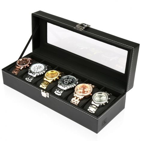 H & S® Flip PU Leather Case Cover with Window Jewellery Box with 6 Compartments