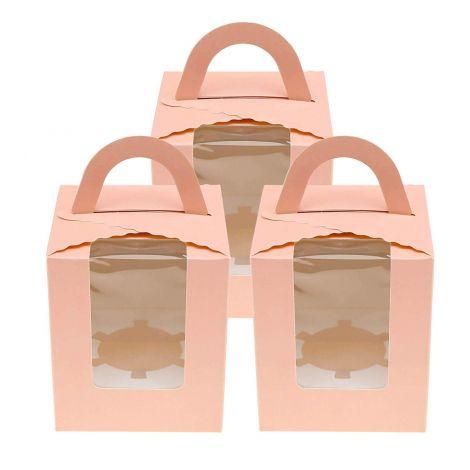 Cake Box Window and Handle  9.5x9.5x11cm ,Pink (20 pcs)