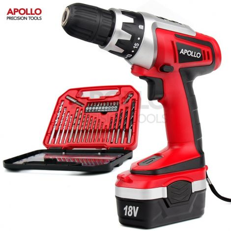 Apollo 18 V Pro Combo Cordless Drill Driver with 1000 mAh NiCad Battery 17 Position Keyless Clutch Variable Speed Switch 30 pcs Drill and Screwd