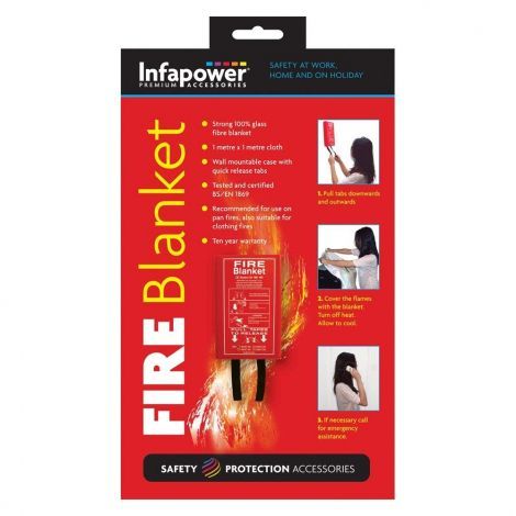 Infapower Wall Mountable Glass Fibre Fire Blanket 1m (X012)