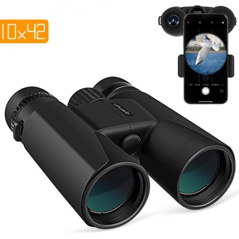 Apeman Small Binoculars 10 x 42 with Night Vision Function, FMC Lens, Carry Bag and Smartphone Adapter