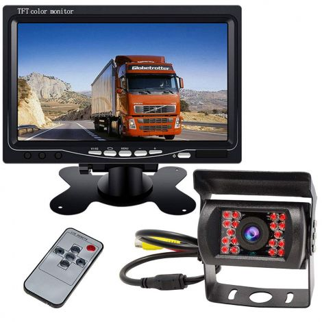 "7"" TFT LCD HD Color Car Monitor + Waterproof 18LEDs Night Vision Reversing Rear View Camera 12V-24V"