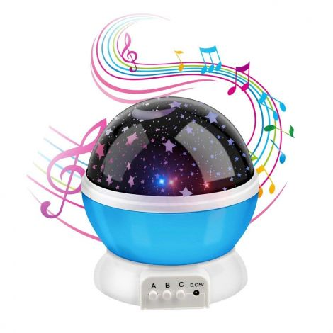 Anpress Moon Star Projector with 12 Soft Music, Baby Room Night Light, 360 Degree Rotation 3 Mode Star Light