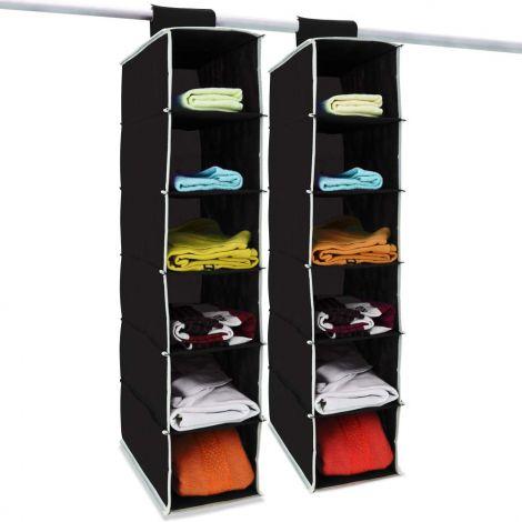 DEUBA 2 x Hang-up Storage 6 Compartments 80 cm x 15 cm x 30 cm Wardrobe Hanging Shelf Organiser System (Black)