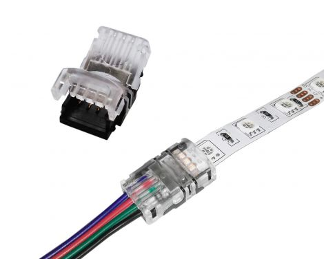 RGB 5050 4Pin LED Strip Connectors - Strip to Wire Connector for 10mm Non-Waterproof LED Light Strips (10pcs)