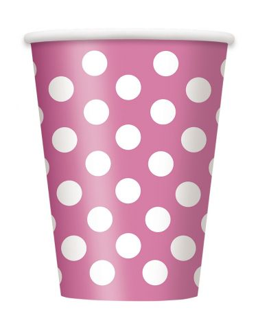 Hot Pink Polka Dot Paper Cups, Pack of 6  (37486)