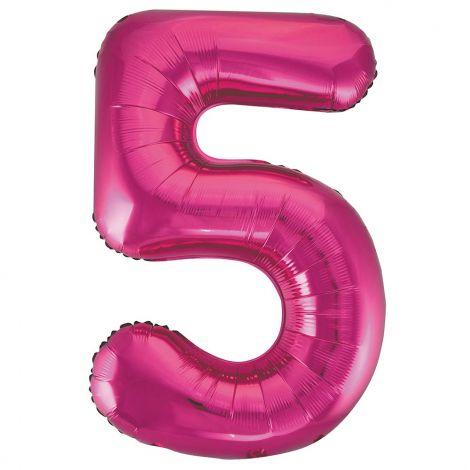 """Unique Party 55735 - 34""""(86cm) Giant Pink Foil Number 5 Balloon"""