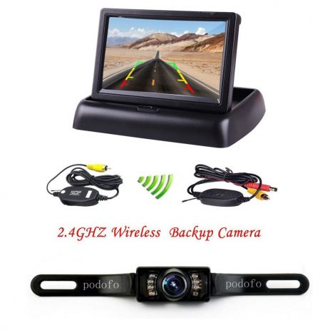 """Podofo 4.3"""" Foldable Wireless Car TFT LCD Mirror Monitor with Waterproof Night Vision Parking Reversing Camera Kit"""