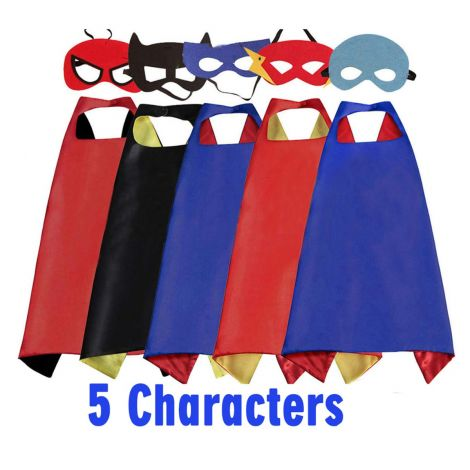 Superhero Capes Costume for Children 5 Capes with 5 Masks