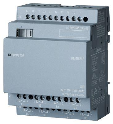 SIEMENS LOGO! DM16 24R, EXP. MODULE, PU/I/O: 24V DC/24V DC/RELAY, 8 DI/8 DO, 4TE FOR LOGO! 8 (6ED1055-1NB10-0BA2)