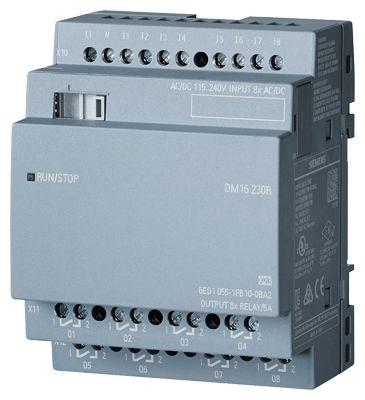 Siemens LOGO! DM16 230R EXP. MODULE PU/I/O: 230V/230V/RELAIS 4TE 8 DI/8 DO FOR LOGO! 8 (6ED10551FB100BA2)