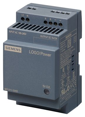 Siemens LOGO! POWER 5 V/3 A STABILIZED POWER SUPPLY INPUT: 100-240 V AC (110-300 V DC) OUTPUT: 5 V/3 A DC (6EP13111SH03)