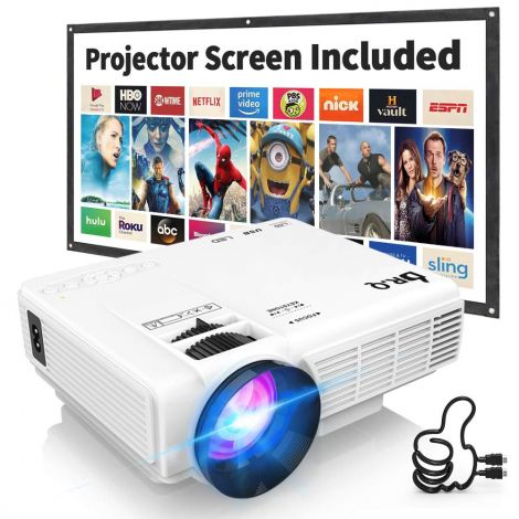 DR.Q HI-04 Projector with Projection Screen 1080P Full HD and 170'' Display Supported Compatible with TV Stick PS4 HDMI VGA TF AV USB (White)