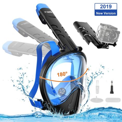 WOTEK diving full face snorkel mask with 180° field of view (L-XL)