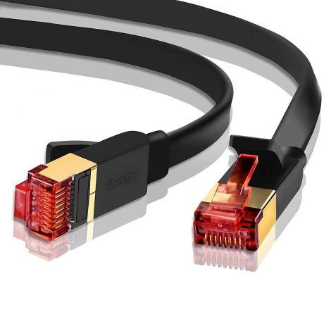 IBRA Ethernet Gigabit LAN Network Flat Cable CAT 7/6 /5e /5 High Speed RJ45 Gold Plated 50M - Black