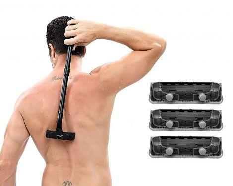 Professional Back Hair Shaver Adjustable Extra Long Handled Safety Back Razor (2 Blades)