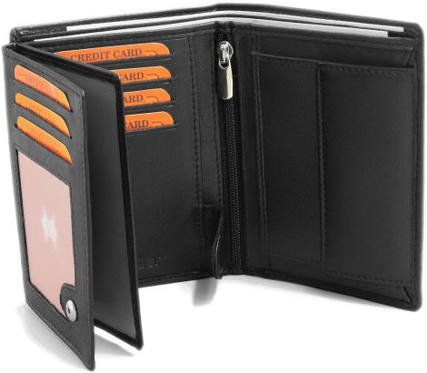 Fa.Volmer Men's leather wallet RFID blocking (Black)