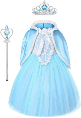 Elsa Frozen dress costume princess set tiara, gloves magic wand, size 6-7/140cm