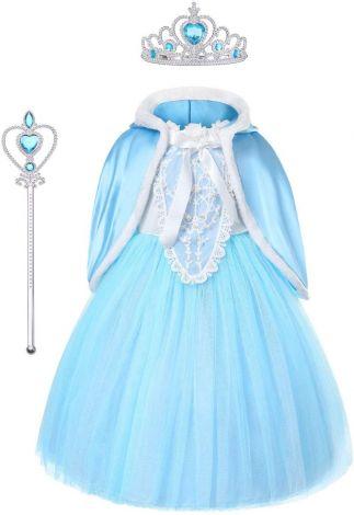 Elsa Frozen dress costume princess set tiara, gloves magic wand, size 5-6/130cm