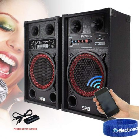 "2x SPB 10"" Active USB/SD Party Speakers 600W + Bluetooth Music Receiver + Cables"