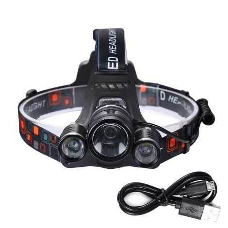 Boruit 2000LM Head Light USB Rechargeable Battery Head Torch IPX4 Waterproof 3*XML-T6 LED