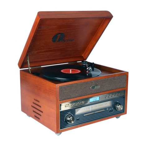 Nostalgic Wooden Turntable Vinyl Record Player with AM/FM CD USB MP3 and Vinyl to MP3 Recording, AUX Inputs For Smartphones & Tablets and RCA Output