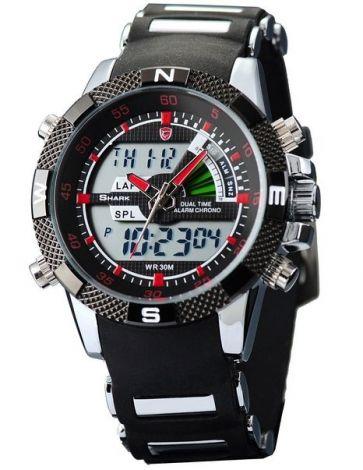 SHARK Ανδρικό Αθλητικό Ρολόι Με Διπλή Ένδειξη Ώρας Kόκκινο (SH043)