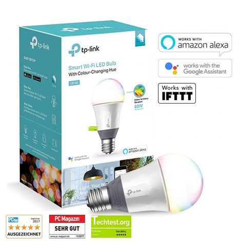 TP-LINK LB130 A E27 Intelligent WiFi LED Light Bulb with Assorted Shades, Plastic, 11 Watt, E27, Purple [Energy Class A+] (LB130) (works with Google Home, Alexa and IFTTT)