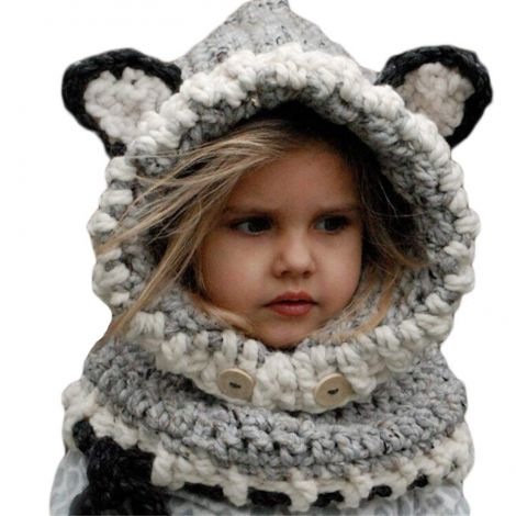 Richoose Winter Warm Coif Hood Scarf Caps Hat Earflap Fox Knitted Wool Shawls (Gray)