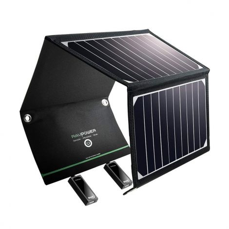 RAVPower 16W Foldable solar charger with 2 USB iSmart ports (RP-PC008)