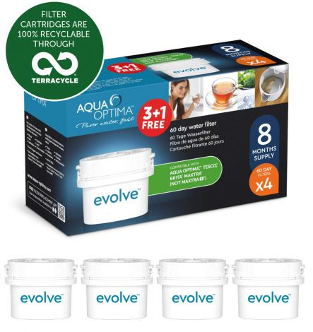 Aqua Optima Evolve 8 month pack, 4 x 60 day water filters - Fit BRITA, Maxtra, (not Maxtra+) - EVD415