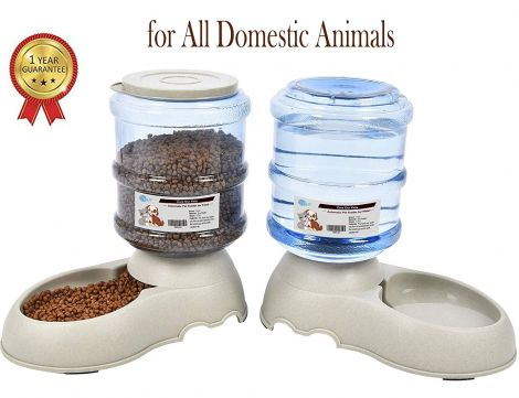 Automatic Pet Feeder Dog/Cat Food and Water Dispenser 3.75Lx2 US FDA Certification 2 Pieces