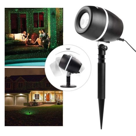 Salcar LED Light Effects 3 Colours Indoor/Outdoor IP65/Mode, Dynamic and Static 6-hour Timer Garden Light Projector, Wall Toppers, Garden Light, Christmas (Red + Green)