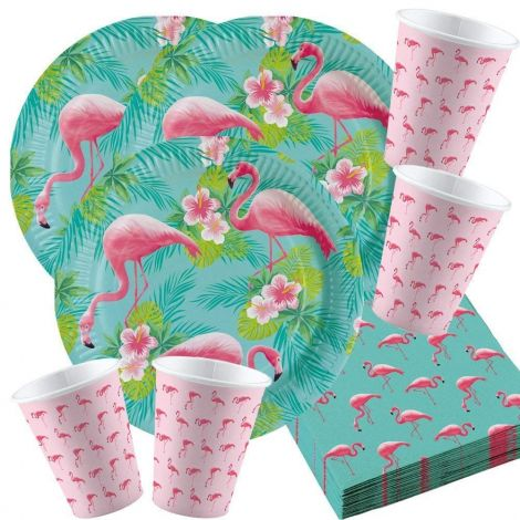 Amscan 52-piece Flamingo Party Set No. 1 for 16 people birthday decoration table