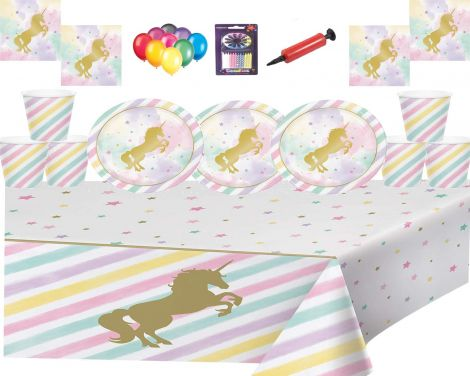 Magical Unicorn Sparkle Party set for 16 guests