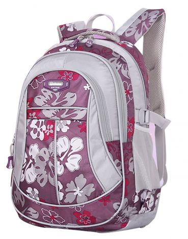 SellerFun® Kid Child Girl Flower Printed Waterproof Backpack School Bag(Purple,Large)