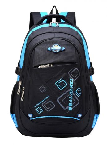 Baijiawei Unisex Child Girl Boy Nylon Lightweight Primary Junior School Bookbag Hiking Backpack (2 Blue,24L)