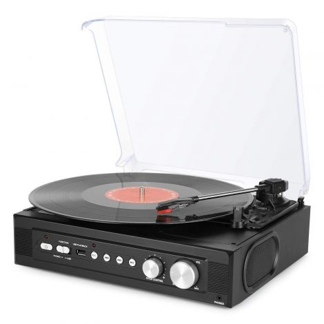 Belt-Driven 3 Gang Mini USB Turntable with Built-In Speaker – Record Player Vinyl to MP3 Recording, USB MP3 Playback