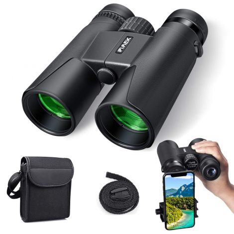 PiAEK Compact Binoculars, 10x42 Waterproof High Performance with Smartphone Mount Adapter