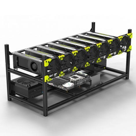 Aluminum 8 GPU Mining Case Rig Open Air Frame For ETH/ETC/ ZCash (8 GPU)