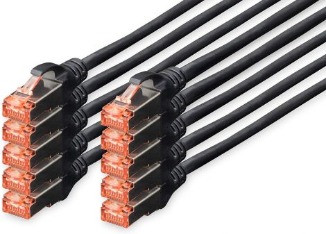 DIGITUS Professional Cat 6 S-FTP Patch Cable LSZH Copper AWG 27/7 black 1m (Pack of 10)