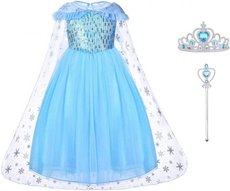 Elsa Frozen costume with tiara and wand, size 6-7 /140cm
