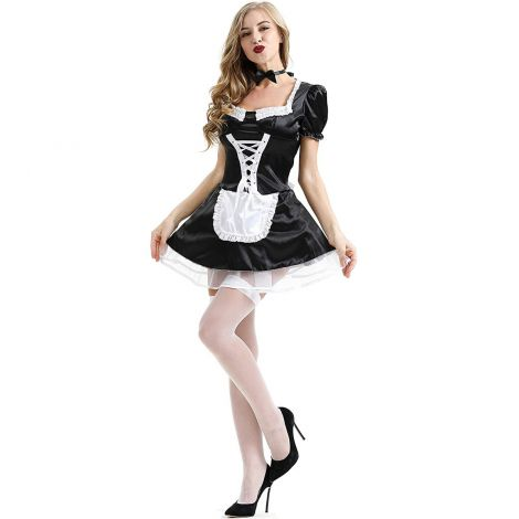 Sexy fancy costume ladies french maid dress (white- black ) one size (xs-m)
