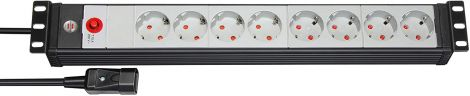 Brennenstuhl Premium-Line 8-Way 6 Rack for Control Cabinet with IEC Cable 3m (Black/Light Grey)