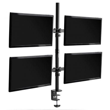 VonHaus Quad Monitor Mount – Four Screen Bracket/Clamp With Tilt, Swivel & Rotate For Desk/Desktop/Table/Workstation