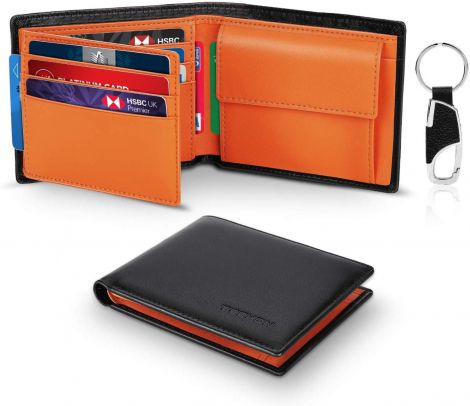 TEEHON Men's Wallet Genuine Leather RFID Protection (Black-Orange)