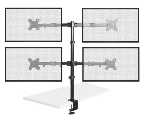 """Bramley Power Dual Monitor Screen Desk Mount Arm Double VESA Bracket for Twin 13"""" to 27"""" Computer Display or TV (Quad Monitor)"""