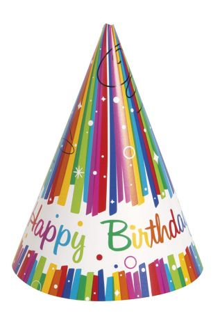 Unique Party 49571 - Rainbow Ribbons Birthday Party Hats, Pack of 8