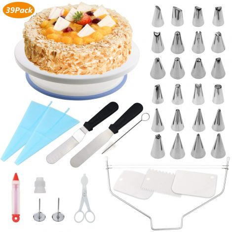 WisFox 39 pcs Cake Decorating Kit Baking Supplies Rotating Turntable Stand, Frosting, Piping Bags and Tips Set, Icing Spatula and Smoother (KN100-2)