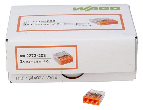 WAGO Compact Junction Terminal 3 Wire Clamps Orange 0.5 – 2.5 mm² Pack of 100, Clear/Orange (33346421)